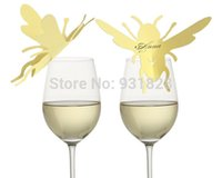 bee names - Cheap Wine Glass Markers Bumble Bee Place Cards Escort Cards wedding Cake Toppers name card table decor butterfly H02