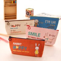Wholesale Cartoon Stationery Bags Creative Stationery Admission Package Cute Animals Face Canvas Pencil Cosmetic Manufacturers Quality Assurance