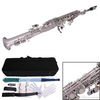 Wholesale 58188MBAT S Stylish Treble B Flat Nickel Plating Straight Pipe Saxophone Silver White ST
