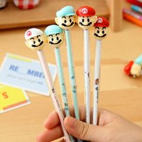 Wholesale 2015 cartoon Super Mary Mario Gel Pens ballpoint Pen school things Office student stationery Pen Supplies mm stamp pen