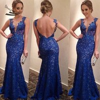 Wholesale vestido de festa women blue long lace dress backless party dress v neck fashion dresses Summer dress