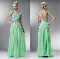Cheap Lace Chiffon A Line Prom Dresses Sheer Scoop Neck Cap Sleeve Appliques Open Backless Full Length Vestidos De Festa Aqua Evening Dresses