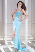 Wholesale Sexy New Celebrity Dresses Sheath V neck Spaghetti Straps Sweep Train Criss Cross Back Side Split Satin Party Gowns Custom Made