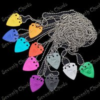 Wholesale 10 Mix Color Aluminium Alloy Guitar Picks Pendant Necklace Playing Heavy Metal guitar picks Thickness mm