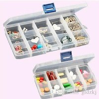 Wholesale 2015 New Adjustable Compartment Plastic Storage Box Jewelry Earring Tool Container