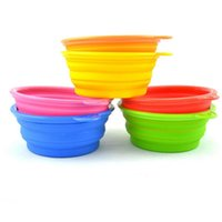 Wholesale New Style Pet Dog portable bowl Silicone Collapsible Feeding Water Feeder Travel Bowl Dish L004