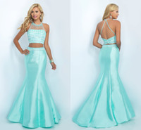 Cheap Charming Baby Blue Two Piece Prom Dresses Long 2016 Mermaid Style High Collar Sheer Neck Sexy Open Back Rhinestone Beading Beaded Gowns