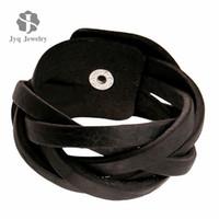 Wholesale New Pure Handmade Genuine Men Leather Bracelets Brand Fashion Punk Wide Cuff Bracelets amp Bangle for Women Men Jewelry