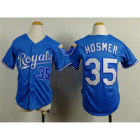 baseball uniform youth - Royals Eric Hosmer Baseball Jersey Baby Blue Boys Baseball Uniforms Cool Base Authentic Youth Baseball Wears Discount Outdoor Sportswear