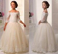 feather balls - 2015 New Girl Wedding Dresses Floor Length Lace Sleeve Off shoulder Elegant Lovely Appliques Ball Gown Flower Girls Dresses For Wedding