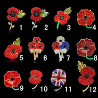 beautiful british women - Royal British Legion brooches Red Crystal Beautiful Stunning Poppy Flower Brooches Pins for Lady Women Fashion Badge Brooch As Princess Kate