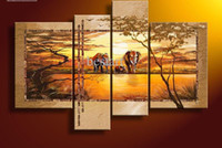 africa painting - Framed Hand painted Hi Q modern home decorative wall art picture for living room Africa elephants oil painting on canvas