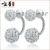 genuine diamond earrings - Wei Hua genuine sterling silver earrings women s diamond earrings Shambhala micro diamond earrings princess