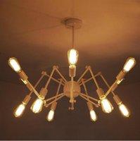 Wholesale Vintage Spider Chandelier Wrought Iron Pendant Light Loft American Style Lighting lamps Edison Bulbs Antique Pendent Light Chandeliers