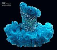 achat en gros de filles une épaule robe courte-2,015 Glitz Cupcake organza filles Pageant Robes étincelle Une épaule perles de cristal volants courtes enfants Parti formelle robes de bal 2,016 nouvelle