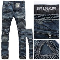 men color jeans - NEW Balmain HOT casual dark color cozy men s jeans fashion brand ripped jeans popular frayed washed straight denim jeans