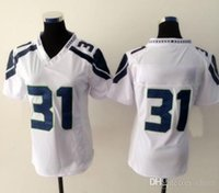 Cheap New Seahawk #31 White Women's American Football Jerseys Authentic Football Uniforms Cheap Sportswear Allow Mix Order Free Shipping