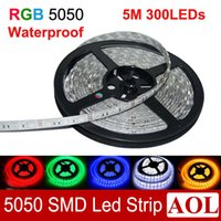 Wholesale Smd Store - Hot selling RGB flexible LED Strip light waterproof 5m 300 SMD 5050 72W LED rainbow lights for home, car, store decoration