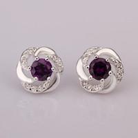 al por mayor espárragos circón-La moda de joyería de la plata esterlina 925 aretes de color púrpura ronda de circón pendientes de austria cristal de stud