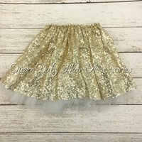 Wholesale Gold Sequin Tutu Skirts Girls Sparkle Silver Pink Baby Toddler Long Tulle Princess Dance Wear