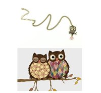Wholesale Lovely of pet Animal sweater chain original fashion accessories Restore ancient ways small bronze owl pendant necklace hot sale