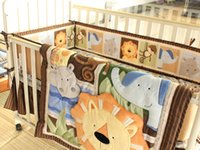 africa bedding - New Arrival Embroidered Africa lion Pattern Baby Cot Crib Bedding Set items includes Quilt Bumper Bed Skirt Mattress Cover