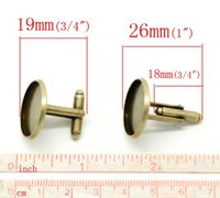 Wholesale Fashion Jewelry Tie Clips Cufflinks Retail Antique Bronze Cabochon Setting Cuff Links x22mm Fit mm sold per pack of pairs