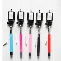 Wholesale DHL Freeshipping Z07 S Extendable Handheld Monopod Audio cable wired Selfie Stick take photos for IOS Android smart phone with groove