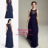 Wholesale Navy Blue Lace Chiffon Bridesmaid Dresses Long Sheer Jewel Neckline Ruffle Empire Zipper Back Maid Of Honor Gowns Formal Occasion Dress