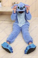 Wholesale Brand New Blue stitch Adult Women Men Unisex Onesie Cosplay Pajamas Party Costumes