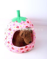 Wholesale Boutique New High Quality Strawberry Sponge Pet House Bed Cat Dog Kennel Warm Cushion Basket X09