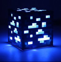 Wholesale Minecraft LED Night Lamp Touch Control Minecraft JJ Square LED Light LED Red Blue Stones with Retail Box New Hot Sale