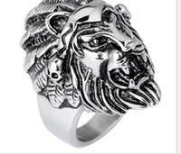 american lion size - Europe vintage fashion titanium steel lion head animal ring mix size