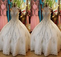 Wholesale 2017 Luxury Ball Gown Wedding Dresses High Neck Bling Shining Crystal Appliqued Organza Chapel Train Plus Size Backless Wedding Gowns