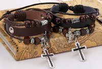 Wholesale Direct selling high quality cowhide leather bracelet beads skulls cross bracelets bracelets restoring ancient ways Send free