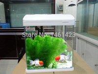 glass fish bowl - Fashion Mini Aquarium Ecological Small Goldfish Bowl MM Glass With Lamp Water Oxygen Pump Closed Fish Tank