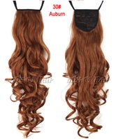 Wholesale 24 quot cm Hairpiece Long Curly Ribbon Ponytails Clip in Hair Extensions Ponytail Synthetic Hair Salon