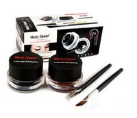 cosmetic black up - 2 set Brown and Black Gel Eyeliner Make Up Waterproof Cosmetics tools Eye Liner Makeup Eye Brush Music Flowers Eyeshadow