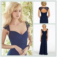 Wholesale 2016 Hottest Royal Blue Pleats Bridesmaid Dresses A Line V Neck Lace Cap Sleeves Keyhole Back Chiffon Floor Length Prom Gowns DG