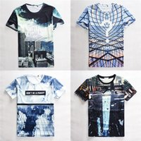 Wholesale 2015 Summer New Unisex T shirts D Printed Graphic Tie Dye Short Sleeve Teeshirt For Men and Women AY779