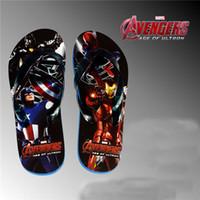 Wholesale Avengers Age of Ultron children s slippers super heroes Iron Man Captain America cartoon shoes boys Flip flops HX