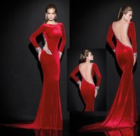 Cheap Custom Made Red Satin Gown Crystals Beads Backless Full Long Sleeve Sheer Evening Dress 2014 Autumn New Items Crew Collar Mermaid Celebrity