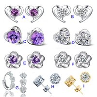 crystal earrings - 925 silver earrings natural crystal fashion small sterling silver jewelry for women crown stud earrings