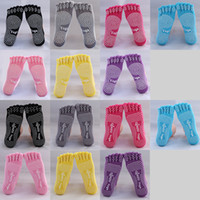 Wholesale Winter Womens Fitness Five Toe Cotton Warm Candy Yoga Gym Non Slip Massage Toe Sports Socks Full Grip
