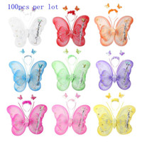 angle fairy - 100pcs hot sale Children Performance Halloween double Layer Angle Butterfly Fairy Wings for Birthday Party Gift