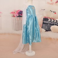 Wholesale Girls party dress Elsa Anna dresses Princess Dresses Blue Elsa Dresses With White Lace Wape Girls New Fashion girl Dresses DHL