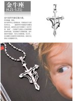 twelve south - Lucky Cross Titanium Steel Pendant Necklace Twelve Constellations The Signs of the Zodiac