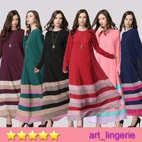 Wholesale 2015 Muslim Abaya Dress For Women Islamic Dresses Fashion Long Sleeve Maxi Lace kaftan Patachwork Robe Dubai Arabe Muslim Tunic F