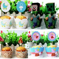 cake supplies - 72pcs Minecraft JJ My Little Pony TMNT Wedding Event Cupcake Wrappers Toppers Cake Decoration Party Favors Supplies Wraps Toppers