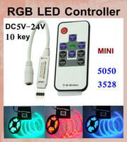 Wholesale RGB LED strip Controller W With RF Wireless Remote Control Mini Dimmer for smd Led Strip light VS wifi key rgb control DT005